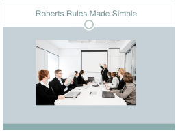 Roberts Rules Made Simple