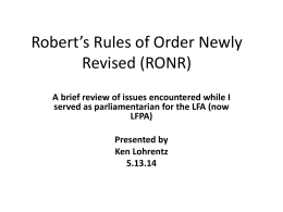 Robert`s Rules of Order (RONR)