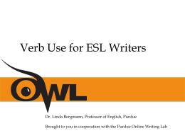 INDOT Verb Use for ESL Writers Slide Presentation