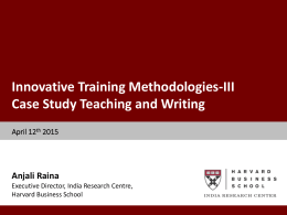 Technical Session 7: Innovative Training Methodologies III Case
