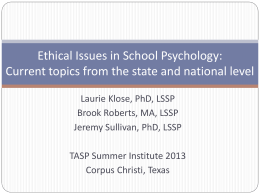 Current Ethical Issues in School Psychology Practice