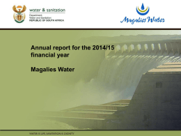 Annual report for the 2014/15 financial year Magalies Water