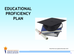 Educational Proficiency Plan PowerPoint