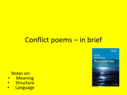 conflict poetry comparisons and revision in brief
