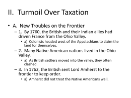 II. Turmoil Over Taxation