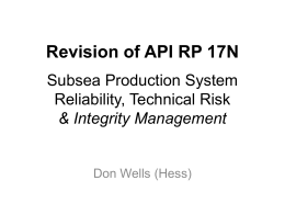 API RP 17N Subsea Production System Reliability