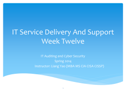 IT Services Delivery And Support Week Eleven