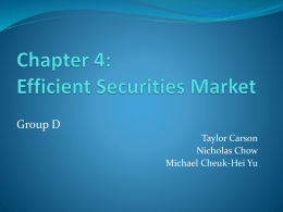 Chapter 4:Efficient Securities Market