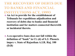 Recovery Through Debt Recovery Tribunals