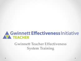Gwinnett Teacher Effectiveness System Training