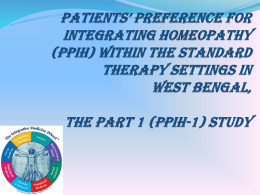 Patients* preference for integrating homeopathy (PPIH) within the
