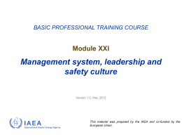 Management System, Leadership and Safety Culture (Module 21)