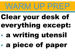 WARM UP PREP
