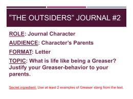 *The Outsiders* Journal #2