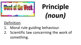 Word of the Week - Principle