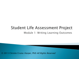 Student Life Assessment Project - National Institute for Learning