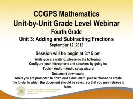 GADOE Grade One Unit One - Georgia Mathematics Educator