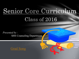 senior core curriculum (guidance) - Shiloh High School Counseling