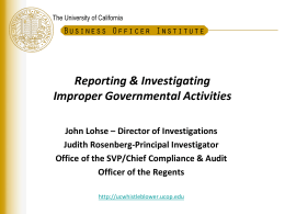 UC Whistleblower Program - Office of The President