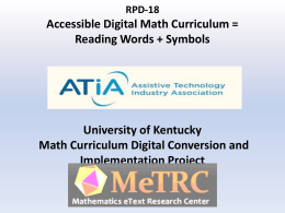 Kentucky Math Curriculum Digital Conversion and Implementation
