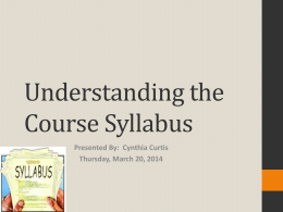 Understanding the Course Syllabus