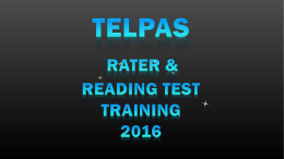 2016 TELPAS TA Training - Education Service Center