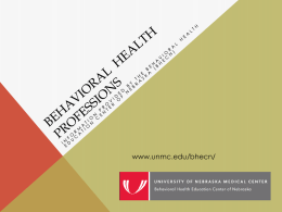 Mental Health Professions - Region 3 Behavioral Health Services