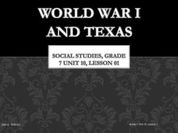 World War I and Texas