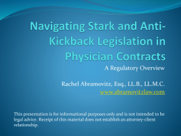 Navigating Stark and Anti-Kickback Legislation in Physician Contracts