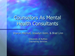 Counselors As Mental Health Consultants