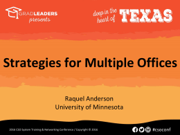 Strategies for Multiple Offices with the University of Minnesota