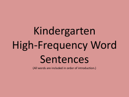 Kindergarten High-Frequency Word Sentences (All words are