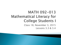 MATH 092-013 Mathematical Literacy for College