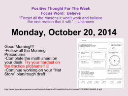 Monday, October 20, 2014 - Morehead4thgrade