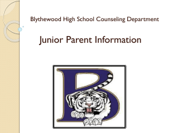 Junior Parent Information - Blythewood High School Counseling