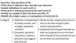 Characteristics of Me Assignment