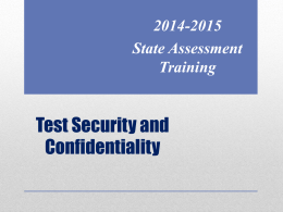 Test Security Training - Canutillo Independent School District