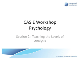 Teaching The Levels Of Analysis - IB-Psychology