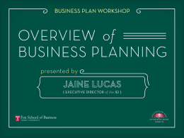 Business Planning - Fox School of Business