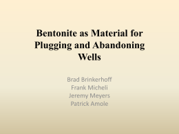 Bentonite as Abandonment Material in Coalbed Methane Wells