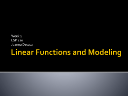 Linear Functions and Modeling