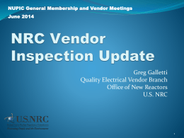 NRCs perspective on Quality Assurance
