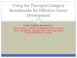 Using the Therapist Category Benchmarks for Effective