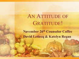 November 2014 Counselor Coffee – an Attitude of Gratitude