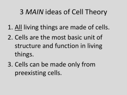 3 MAIN ideas of Cell Theory