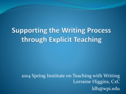 Teaching Writing Process and Strategies