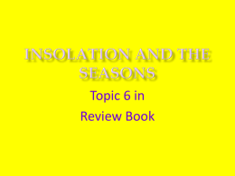 INSOLATION AND THE SEASONS