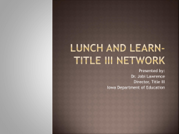Lunch and Learn Title III Network