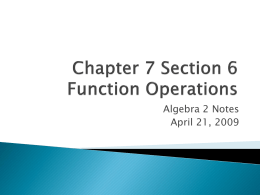 Chapter 7 Section 6 Function Operations