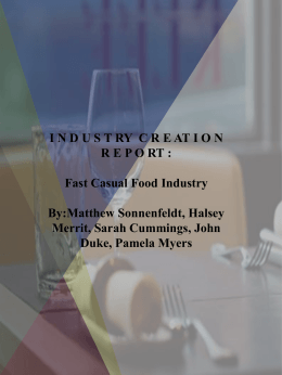 INDUST RY CRE AT IO N REPO RT : Fast Casual Food Industry By